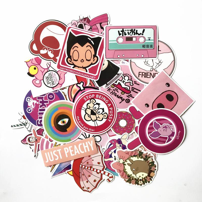 50 шт./лот розовый милые девушки наклейки с милыми рисунками для автомобиля чемодан для ноутбука зарядного устройства телефона Водонепрониц...
