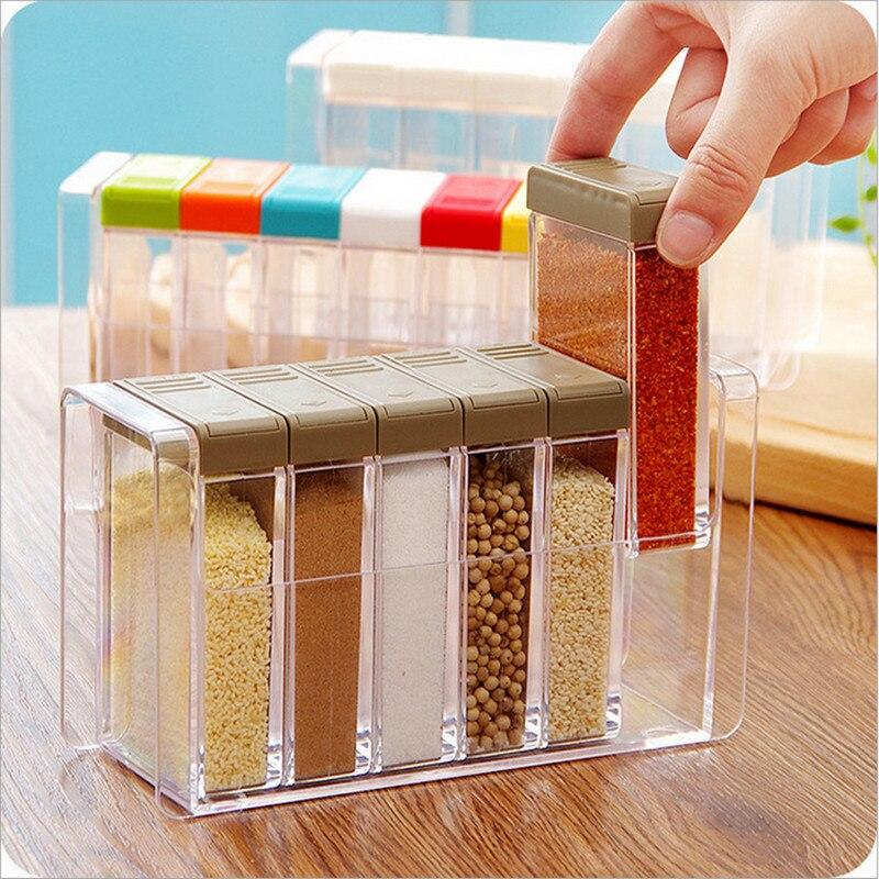 6 قطعة/المجموعة المطبخ التوابل زجاجات البسيطة الملح شواء التوابل الجرار مع زلة غطاء بسيطة شفافة البلاستيك توابل تخزين مربع