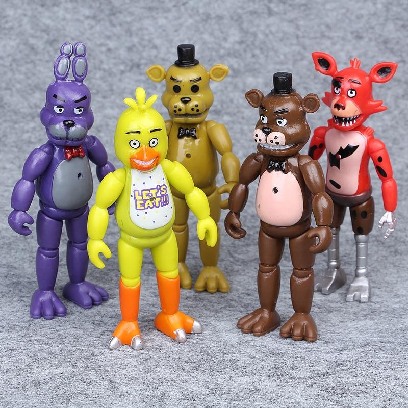 Anime 5 unids/lote cinco noches en Freddy figura de acción de PVC lápiz de Bonnie Foxy Freddy Fazbear oso muñecas figuras juguetes modelo de 14cm