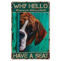 funny bathroom quote metal tin sign wall decor vintage why hello sweet cheeks have a seat dog tin sign for office decor gifts
