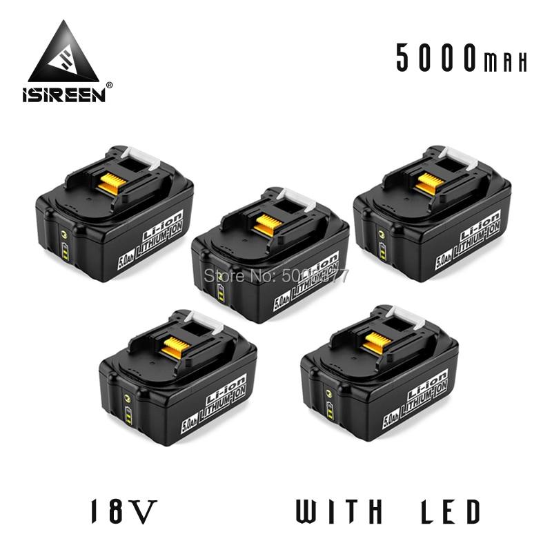 BL1850 batería de iones de litio 18V 5000mAh reemplazo para Makita BL1840 BL1830 herramienta eléctrica batería recargable paquetes BL1815 LXT400