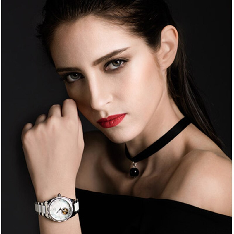 GOLGEN Luxury Brand Ceramic Ele Women Mechanical Watch Waterproof Skeleton Watches Wristwatch Relogio Feminino Gifts enlarge