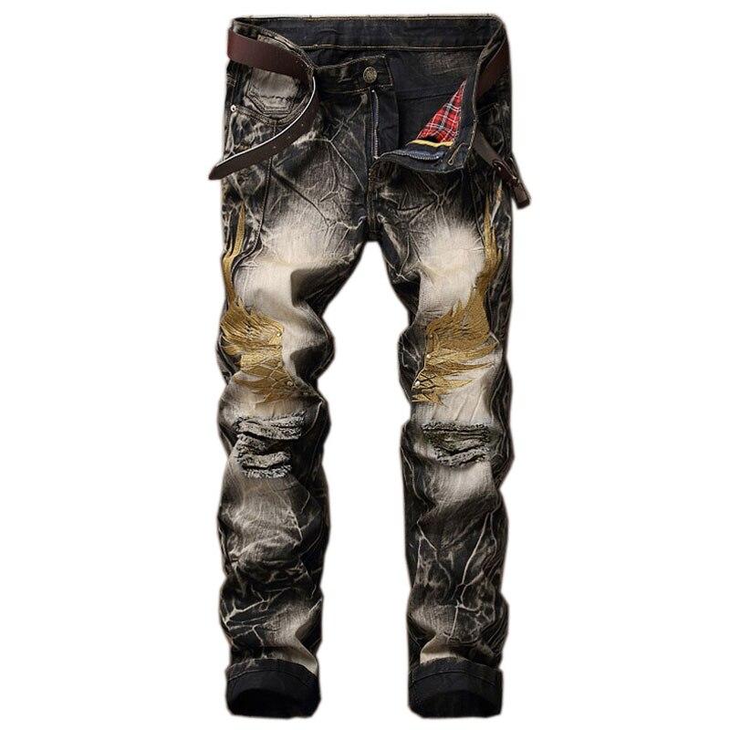 2021 Горячая Распродажа, теплые джинсы, мужские джинсы с вышитыми крыльями, мужские джинсы на молнии, байкерские джинсы, мужские рваные джинсы...
