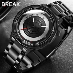 Break Fashion Quartz Watch Men Women Top Brand Luxury Retro Black Stainless Steel Watch Men Orange Mens Watch Reloj Hombre 2021