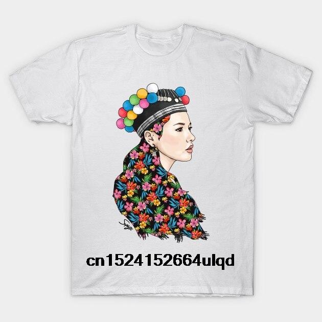 100% algodón o-Cuello Camiseta con estampado personalizado de los hombres T camisa Hmoob chica pompón-Hmong mujeres camiseta