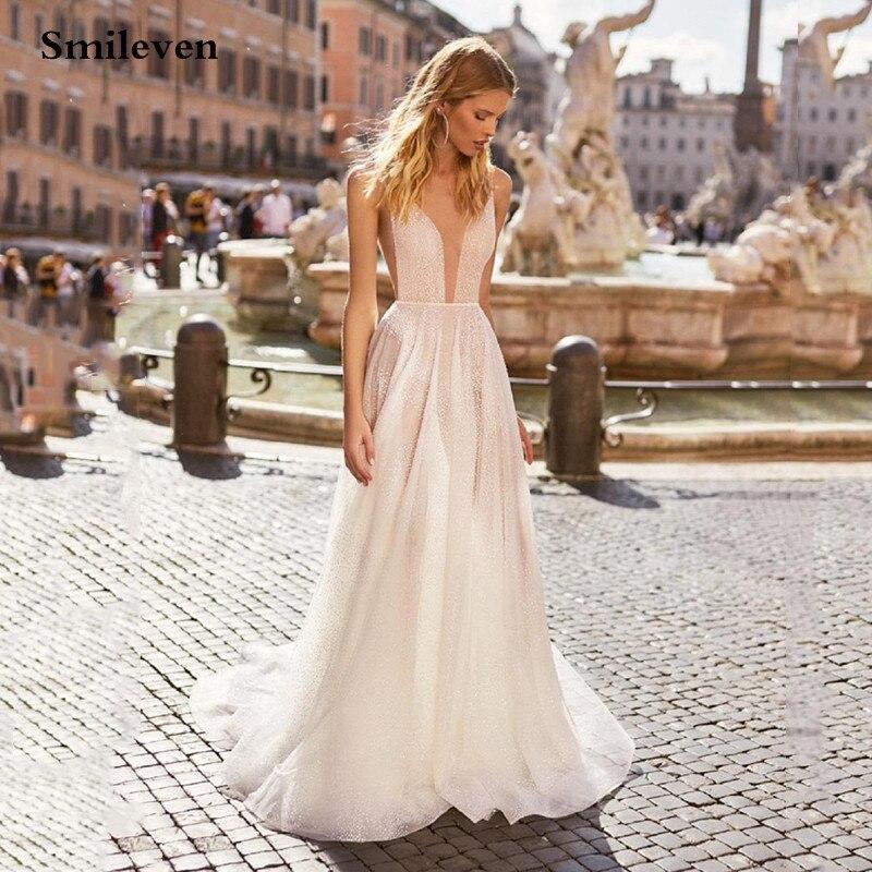 Smileven una línea vestidos De novia brillante blanco lentejuelas espalda descubierta Boho Glitter boda vestidos De novia bata De noche