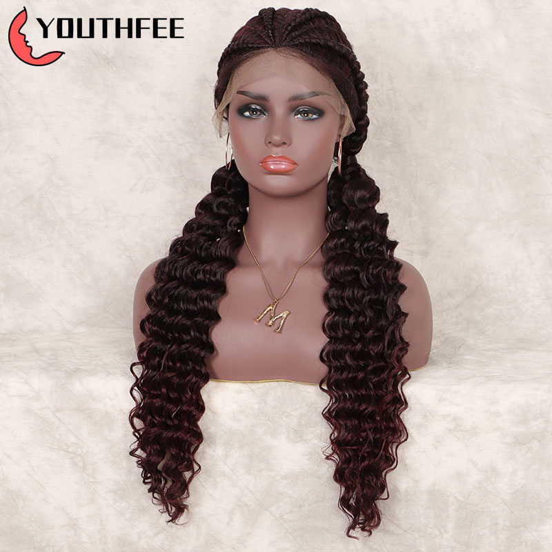 Youthfee Braided Lace Front Synthetic Wigs With Baby Hair Double Dutch Braid Wigs With Curly For Women Box Braiding Lace Wig