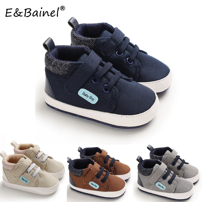 E&Bainel Baby Boy Shoes Classic Canvas Sports Sneakers Soft Sole Anti-slip Newborn Infant Shoes For
