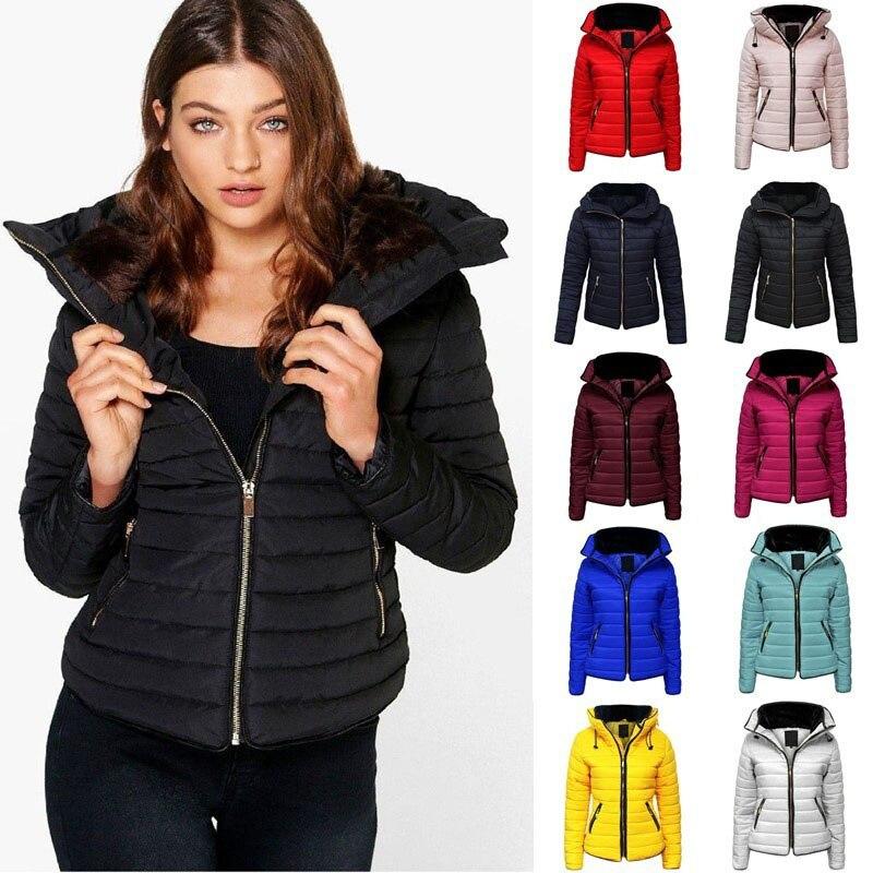 Новинка 2020, Зимние Модные женские хлопковые куртки с воротником-стойкой, парки больших размеров, облегающие Короткие повседневные теплые ж...