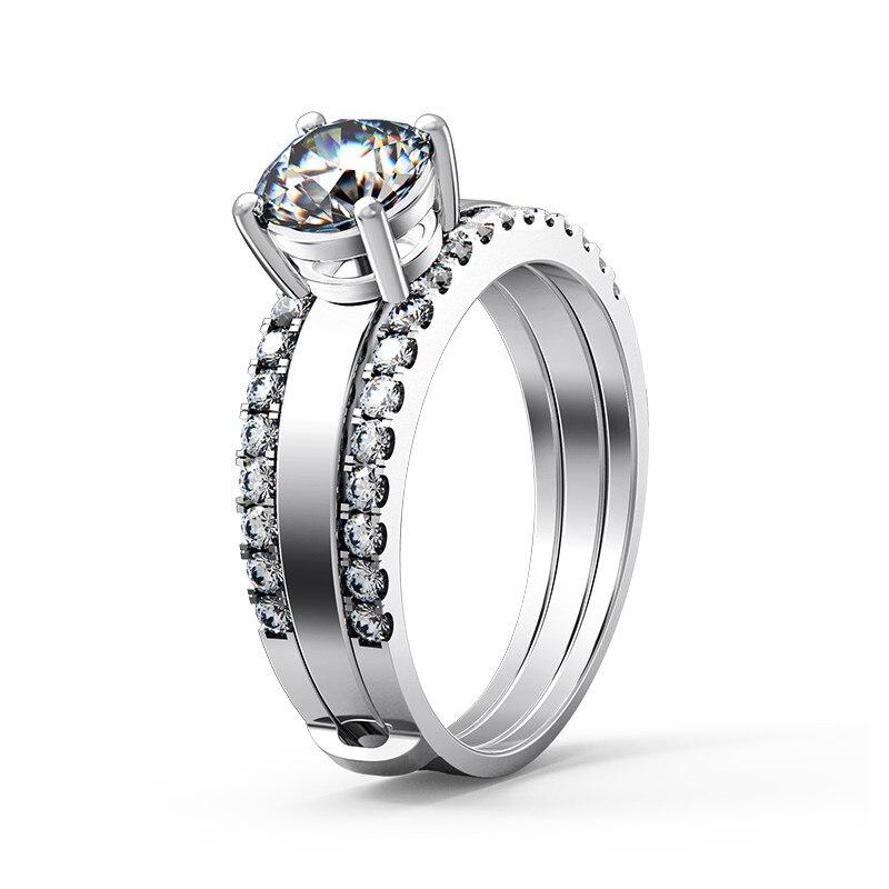 Real 925 prata esterlina conjunto de jóias teste positivo 1ct D-E moissanite diamante conjunto anéis s925 noivado jóias para mulher