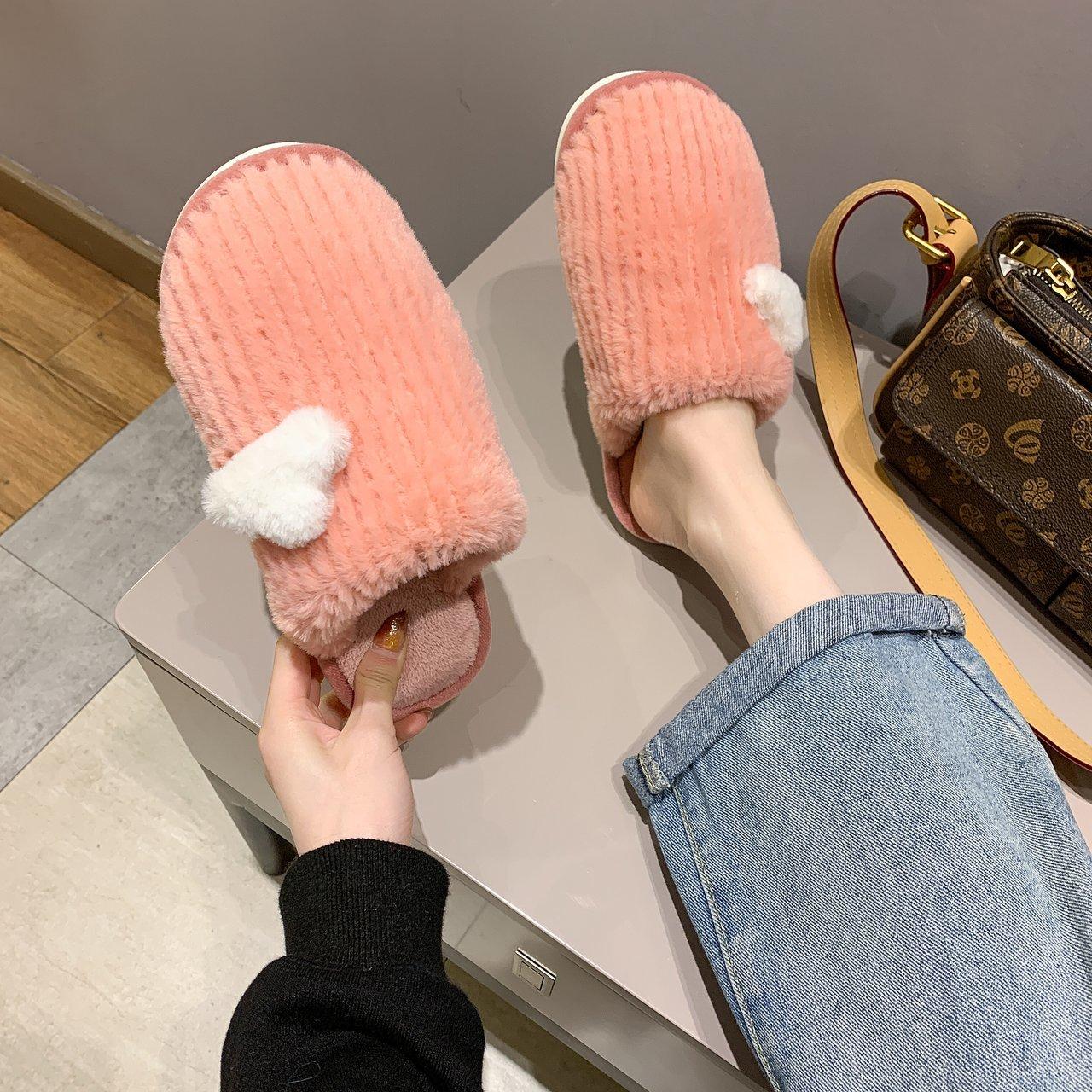 2020 Winter Warm Fur Slippers Women Men Boys Girls Slides House Shoes Flat Heel Home Soft Slipper In