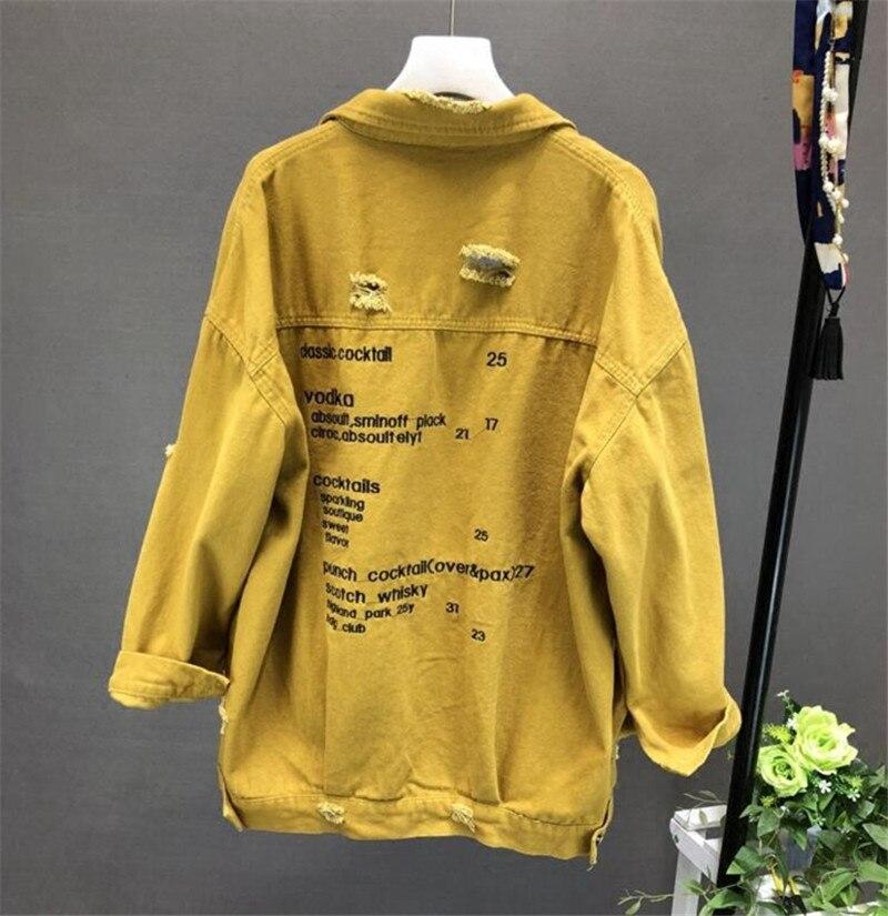 Cotton Denim Jackets Letter Print Loose Hole Coat Black Streetwear Stretch Jeans Jacket Oversize Outerwear  Women