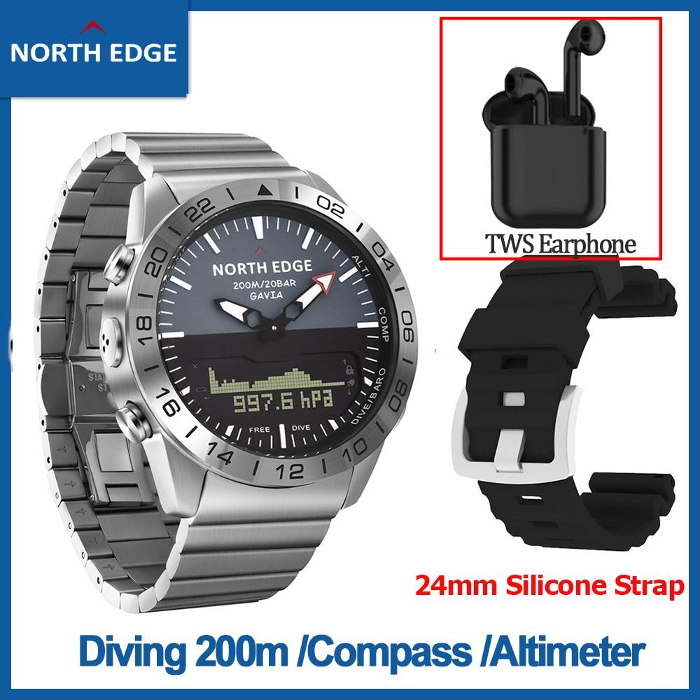 [RU] Original NORTH EDGE Men's Dive Digital Watch Business Sports Watch Compass Altimeter Waterproof 200m Quartz Gavia Swimming