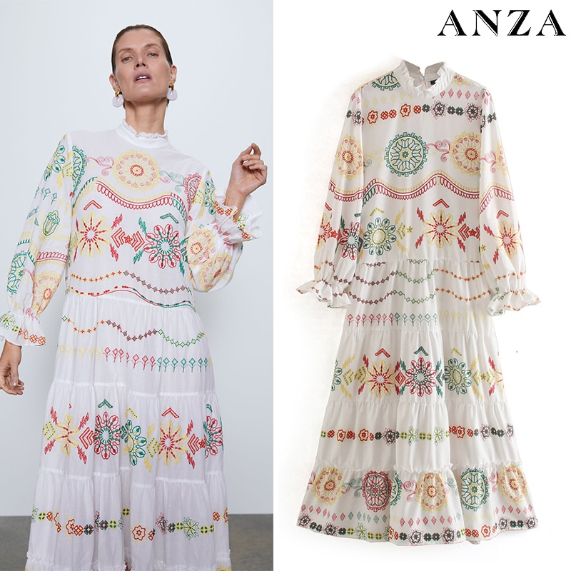 Женское платье с круглым вырезом Za, летнее свободное платье с цветочным принтом и длинным рукавом в стиле бохо пляжное платье-миди