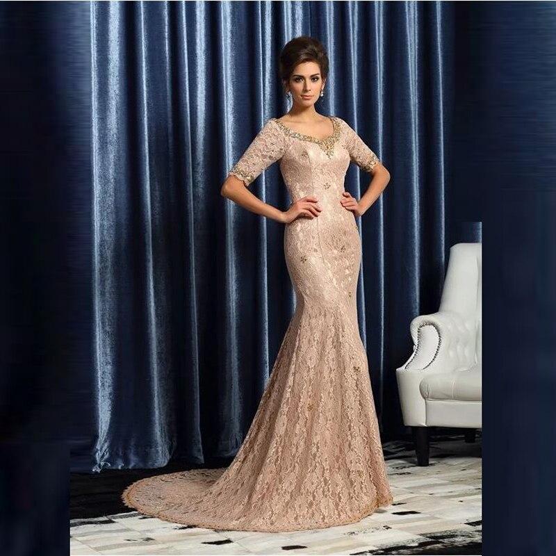 فستان أم العروس من الدانتيل ، نمط حورية البحر ، نصف كم ، رقبة مربعة ، مطرز ، ثوب زفاف ، مجموعة جديدة