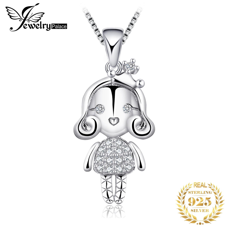 JewelryPalace 925 Plata de Ley Zirconia cúbica princesa niña 3D muñeca colgante no incluye cadena