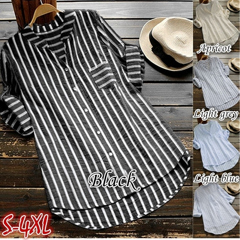 Zogaa, blusas informales de verano para mujer, camisas de manga corta con cuello en V para mujer a rayas, Top corto con cuello en V, blusas de sección larga para mujer