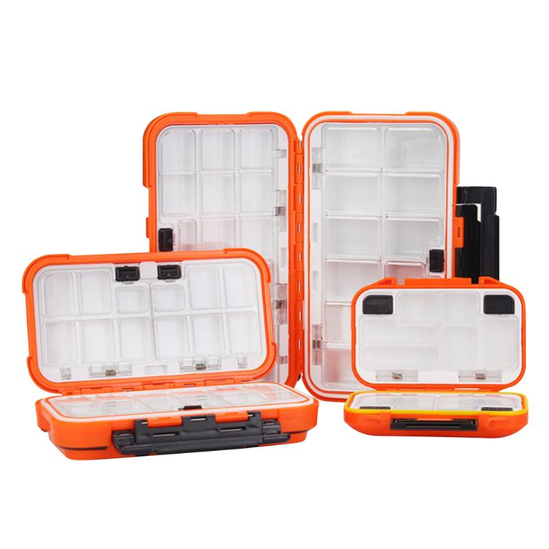 Caja de aparejos de pesca de doble cara Multi compartimiento impermeable cebo señuelo gancho caja de almacenamiento accesorios de pesca de roca de mar