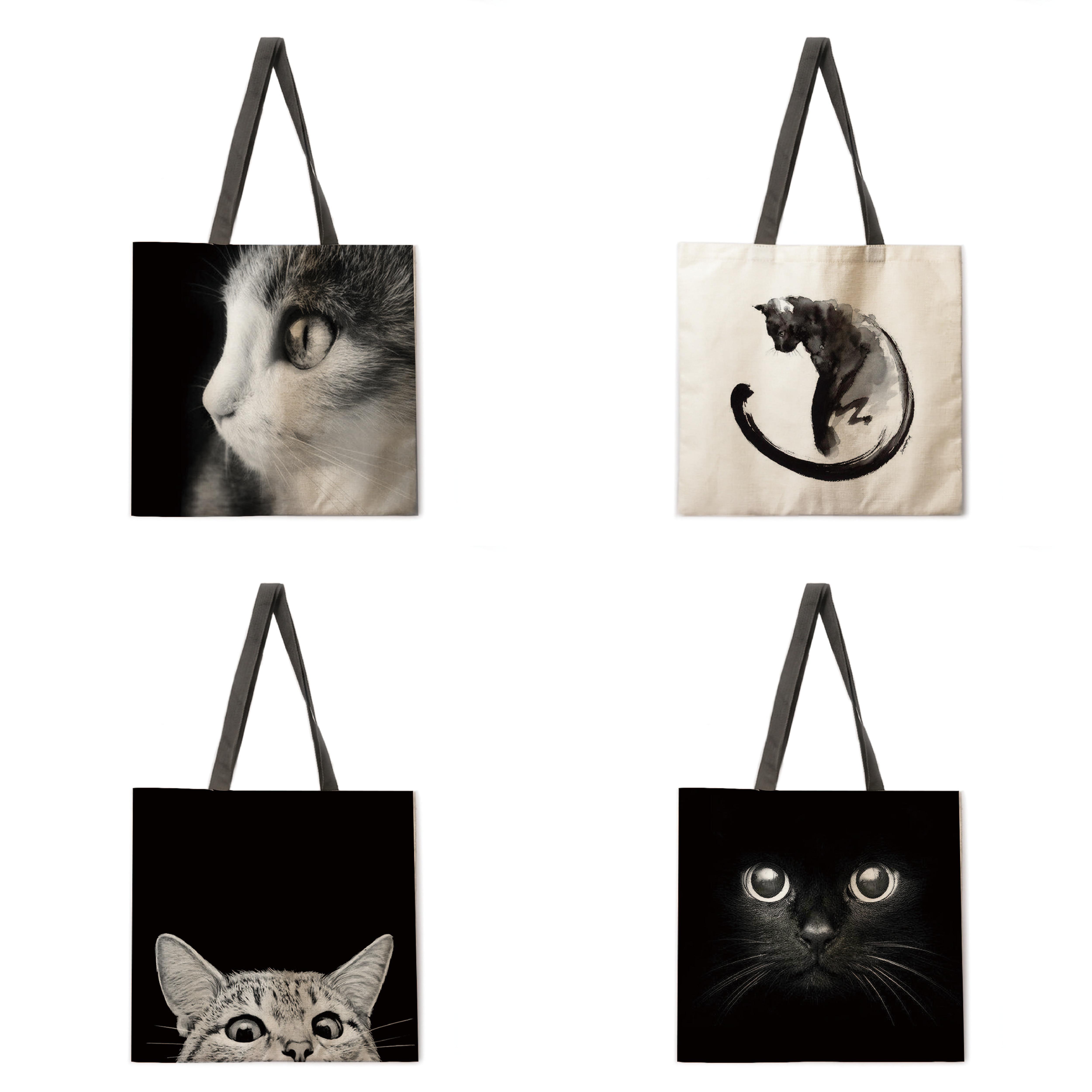 AliExpress - Foldable shopping bag black cat handbag lady shoulder bag lady leisure handbag outdoor beach handbag