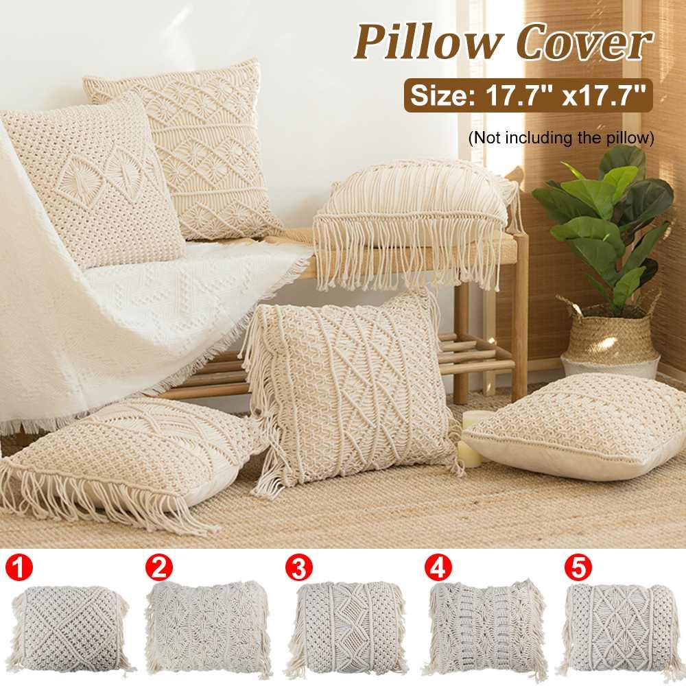 Cushion Cover Bohemian Pillow Decoration Pillow Cover Cotton Linen Macrame Thread Macrame Hand-woven Tassel Pillow Home Decor