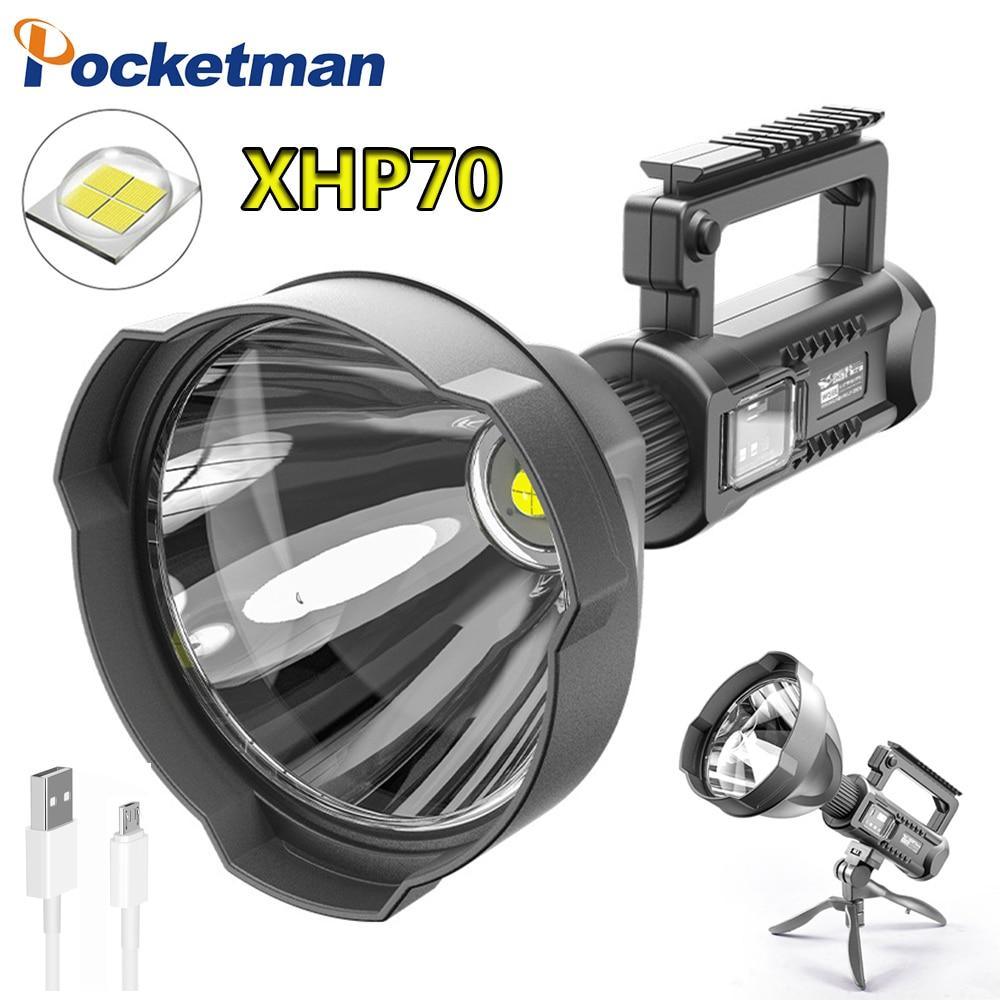 30000LM luces linterna LED portátil brillante reflector luz de trabajo con P70.2 lámpara de perla soporte de montaje para patrullaje