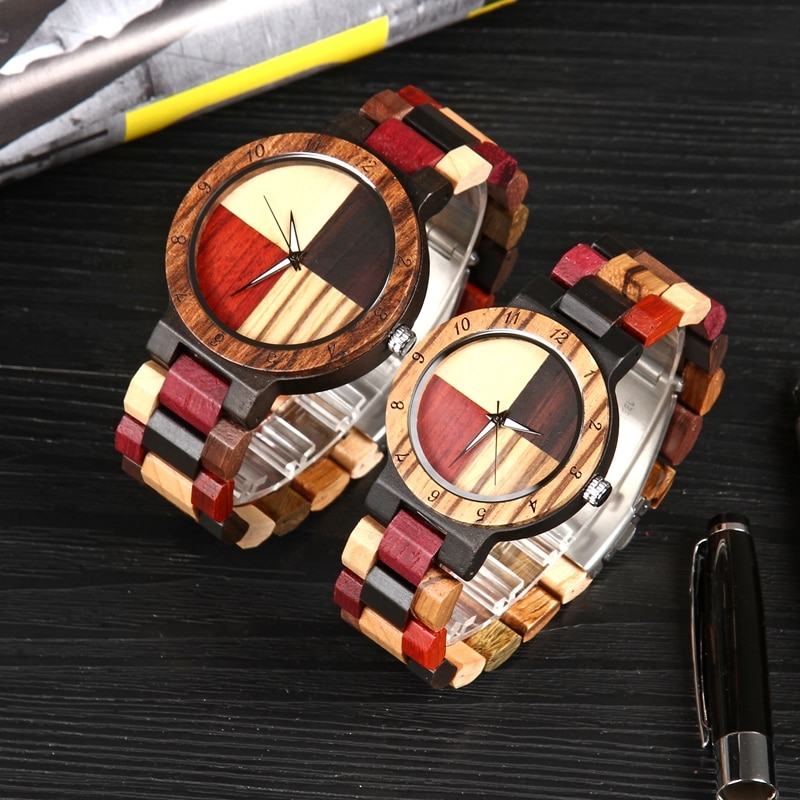 Relojes de madera para hombres y mujeres, reloj de pulsera creativo de bambú de madera para amantes, reloj ligero empalme, reloj masculino 2019 nuevo
