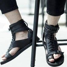 2021 Summer New Men's Fashion High Top Sandals Versatile Men's ROMAN SANDALS Pu Casual Lace Up Zippe