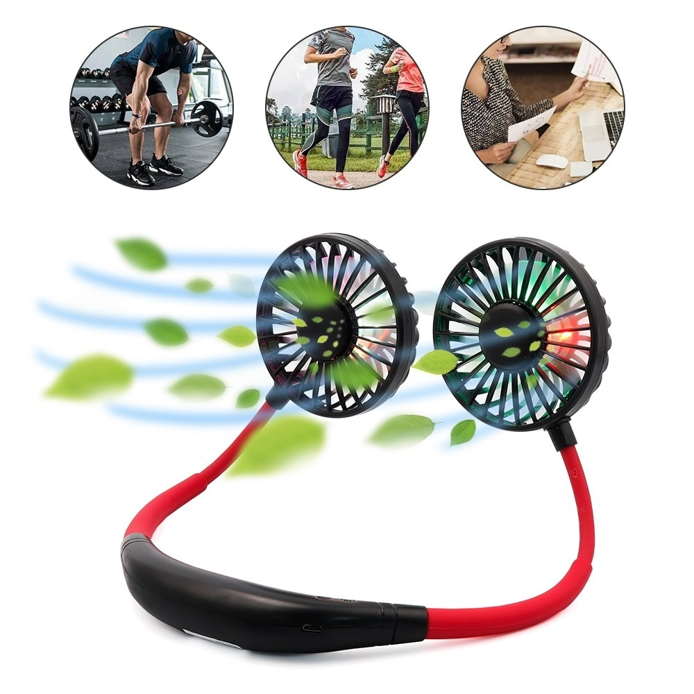 Strong Portable Usb Mini Neck Fan Neckband Fan Mini Fan Rechargeable 3 Speed Adjustable Summer Electric Air Cooler Conditioner