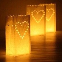 20 pcs/lot en forme de coeur porte-lumière de thé Luminaria papier lanterne bougie sac pour fête de noël en plein air décoration de mariage nouveau