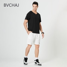Summer Men's Sportswear Suit Jogging Short Sleeve V-neck T-shirt + Tight Waist Fitness Shorts Track