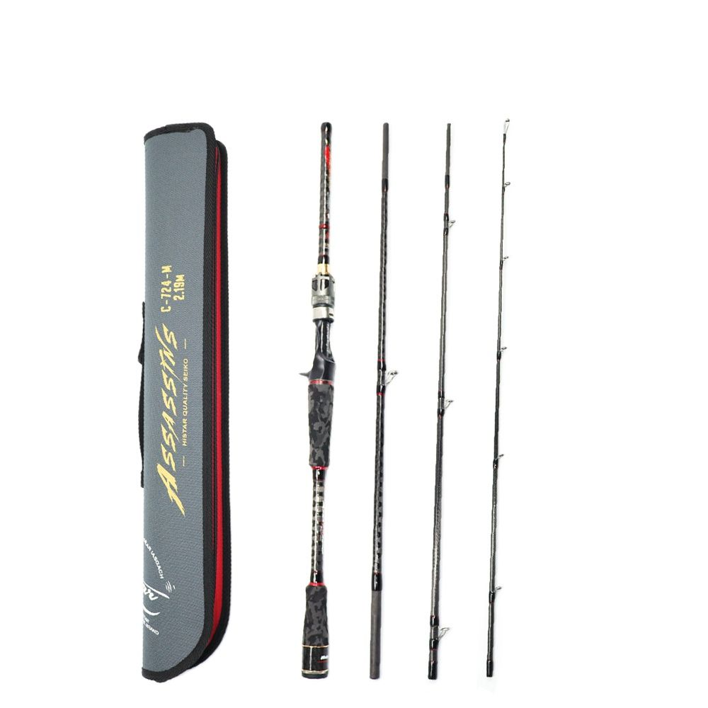 NEW 4 Sections Spinning Rod with Case  Reel Seat Fast Action Casting Fishing Rod Carbon Travel Rod DKK-SIC Guide Ring