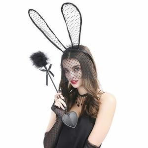 Usexy 4 шт. милый Банни шелковая повязка для волос шлепание лопатка искусственная перо попка бить кнут сексуальный чокер шнуровка рукава Seks игрушки для пар