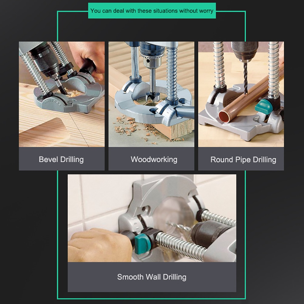 Electric Pipe Hand Drill Drilling Guide Holder Stand With Adjustable Angle Removable Handle DIY Woodworking Tool High Quality enlarge