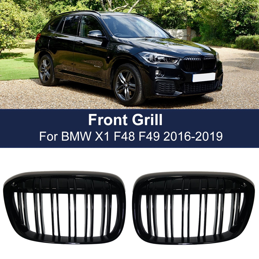2pcs car racing grille for hyundai solaris 2 grill 2016 2018 emblems abs radiator sliver chrome front bumper upper replacement Car Front Bumper Grill Racing Grille for BMW X1 F48 F49 2016-2019 XDrive Double Line Slat Grills M style 51117383363 51117383364