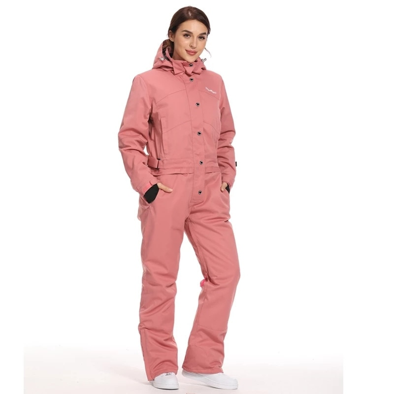 Winter Women's Hooded Jumpsuits Parka Cotton Padded Sashes Waterproof Ski Jumpuit Straight Zipper One Piece Casual Tracksuits