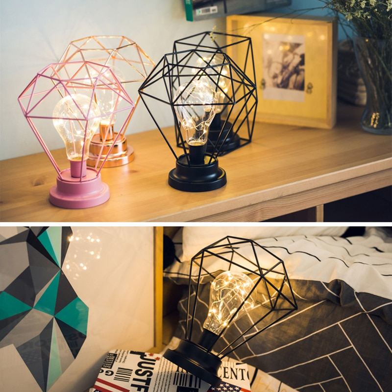 Creative table Lamp Fashion Diamond Hexagon Shape LED Night Lamp Bedside Lamp Bedroom Decoration Gift for Birthday Christmas D20