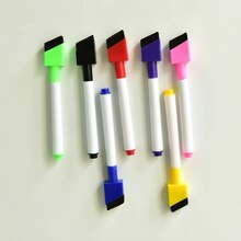 5pcs/lot Magnetic Whiteboard Pen Erasable Dry White Board Markers Magnet Built In Eraser Office Scho