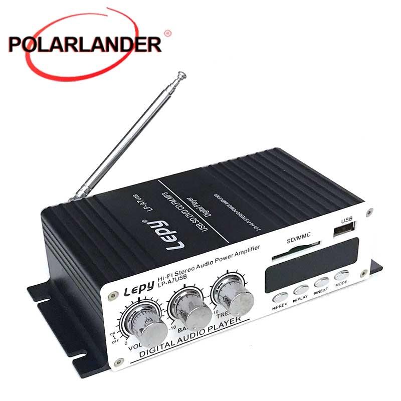 Lepy-amplificadores de potencia de LP-A7USB, reproductor MP3 estéreo multifunción FM, SD, USB,...