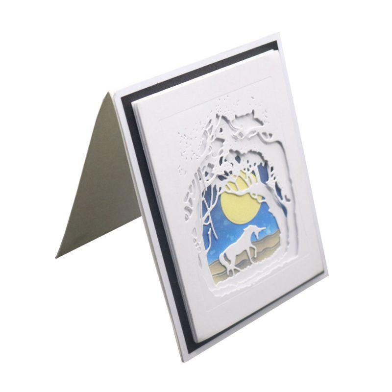 Animales bajo la luz de la luna Metal troqueles plantilla DIY álbum de Estampillas de recortes estampado de tarjeta de papel manualidades decorativas 144x100mm