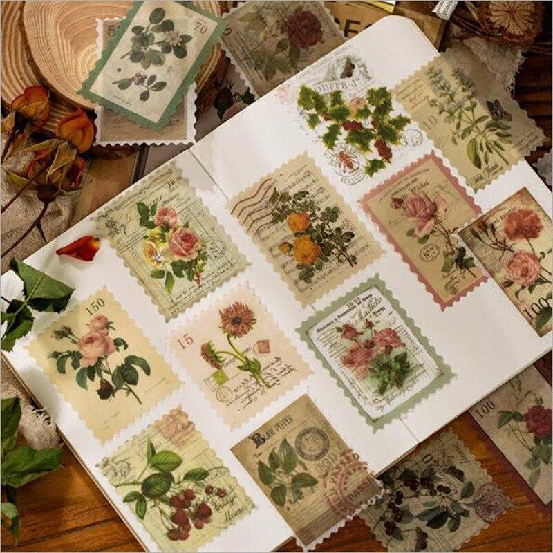 12 paquetes Retro diario cuarderno de recortes con pegatinas decorativas Post Office Series Sticker etiqueta álbum diario papelería pegatina de sello