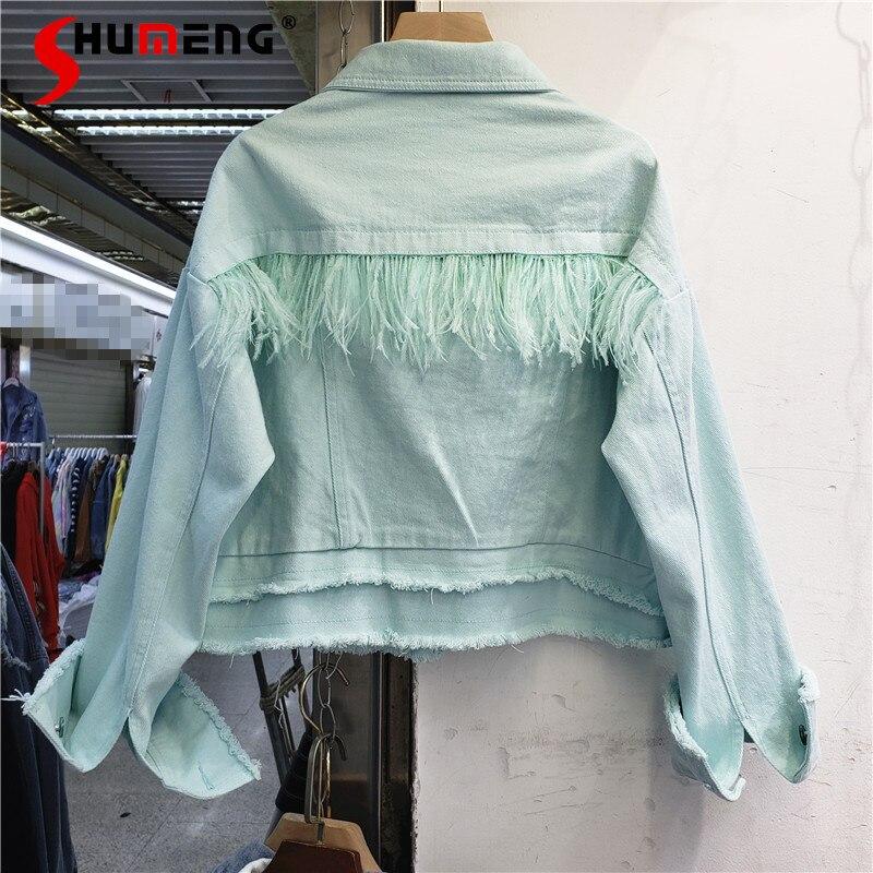 Женская короткая джинсовая куртка, однотонная однобортная Свободная куртка с отложным воротником и длинным рукавом, с бахромой, весна-лето ...