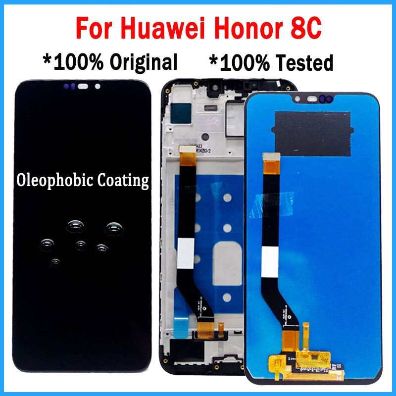 "+ Marco Original de 6,26 ""LCD para Huawei Honor 8C pantalla LCD de montaje de digitalizador con pantalla táctil para Honor jugar 8C LCD BKK-AL10 LCD"
