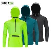 wosawe windproof mens cycling jacket long hooded fluo green road mountain bike bicycle wind jacket running mtb windbreaker
