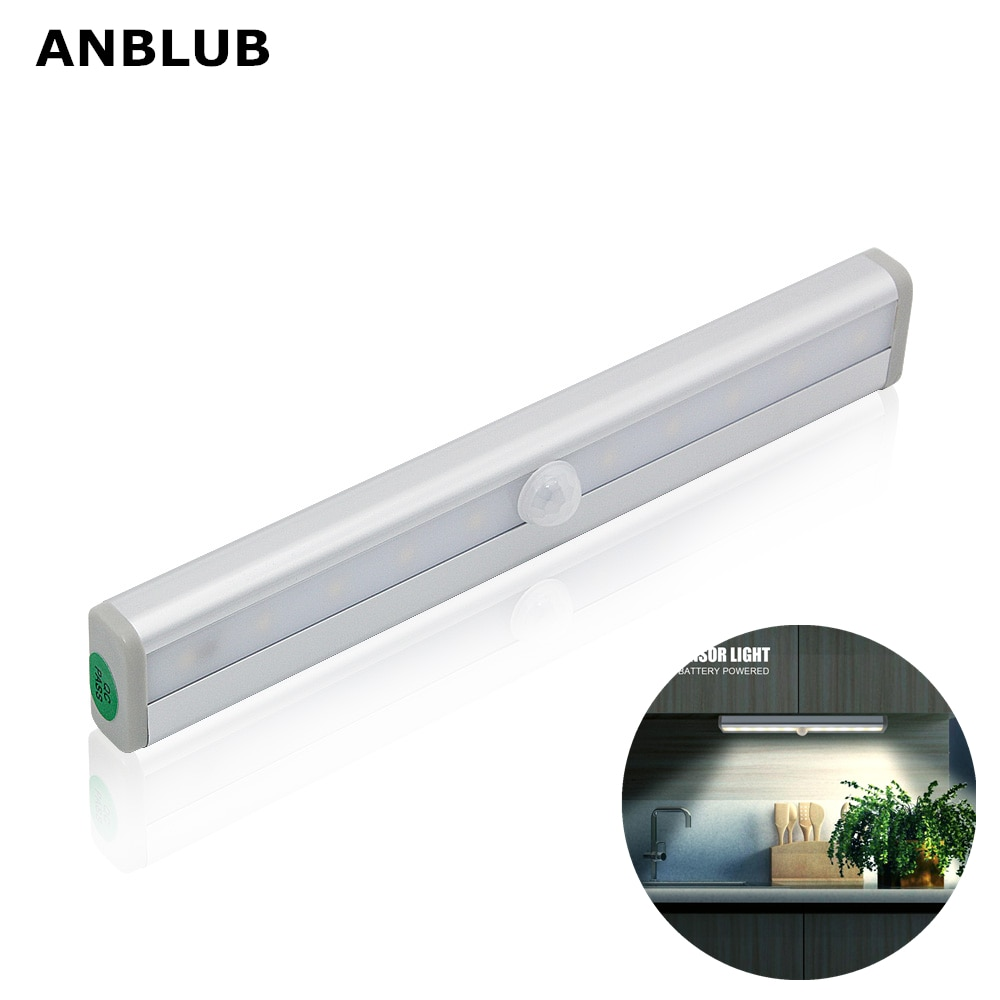 ANBLUB 10LED PIR Sensor de movimiento luces LED armario lámpara de cama bajo gabinete Luz de noche para pasillo armario escaleras Cocina