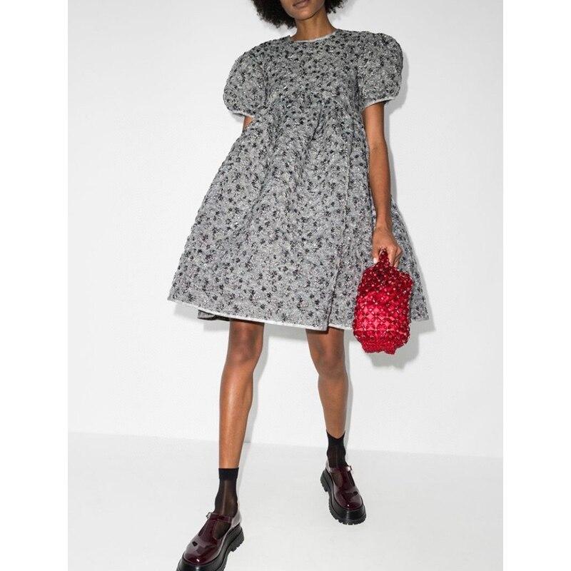 1.19 de alta qualidade primavera verão novo temperamento moda puff manga laço-up bordado jacquard solto a line vestido feminino
