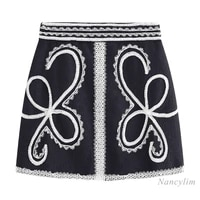 2021 spring new ladies temperament high waist lace embroidered skirt for women slim fit all match a line skirts