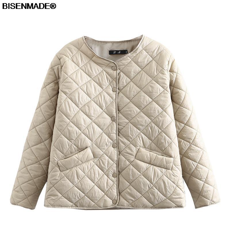 Autumn Winter Parka Women Clothes Plus Size&Curve 2021 New Padded Coat V-Neck Jacket Lightweight Short Outerwear