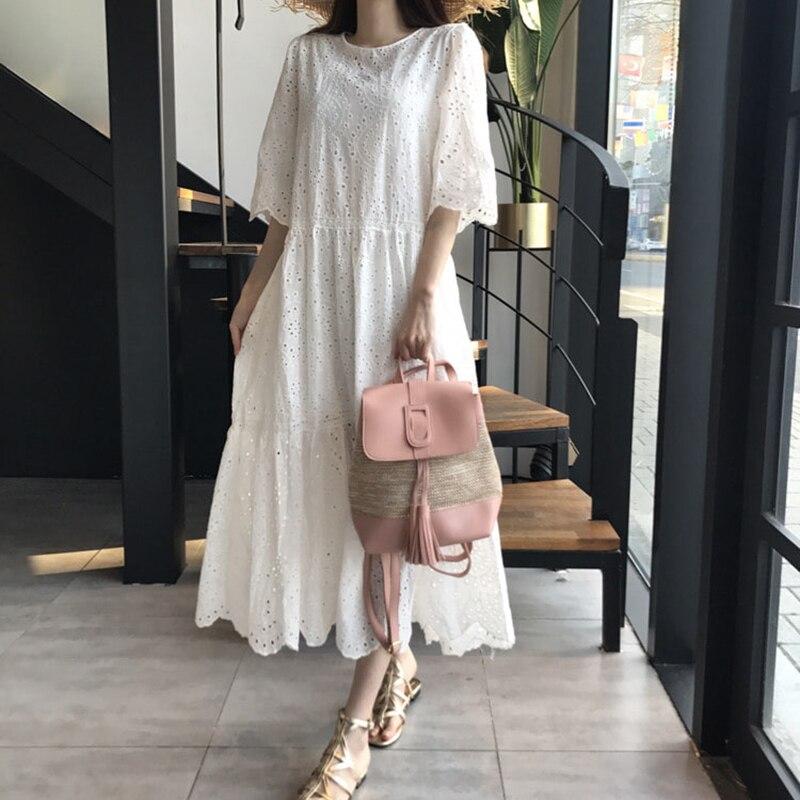 ] 2020 nuevo verano Mujer Vintage suelta alta cintura delgada era delgada elegante ahueca hacia fuera Maxi Big Swing vestido U075