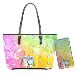 Cute Cartoon Tooth Print PU Bags Dentist Rainbow Design Nursing Handbags for Women 2pcs/set Travel Top-handle Bags