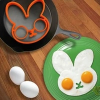 2pcs cute rabbit fried eggs mould breakfast omelette mold silicone egg pancake ring cooking egg tool kitchen accessories gadget